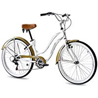 "Los mejores  - KCP 26"" BEACH CRUISER COMFORT BIKE Ladies ALOHA 2.0 6S SHIMANO white (w) RETRO LOOK - (26 Zoll)"