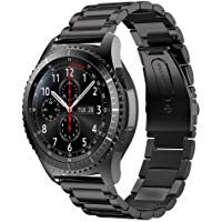 MroTech Correa para Gear S3 Frontier, 22mm Acero Inoxidable Pulseras de Repuesto para Gear S3 Classic, Galaxy Watch 46mm, Amazfit Pace, Huawei 2 Classic, Pebble Time, Moto 360 2 46mm (Negro)